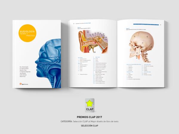 Premio Clap 2017 mejor libro. Audiología Teoría y Práctica diseñado por Alejandro Lopez Martinez